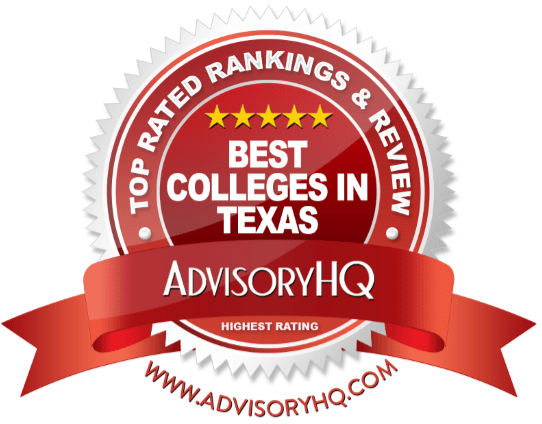 best colleges in texas red award emblem
