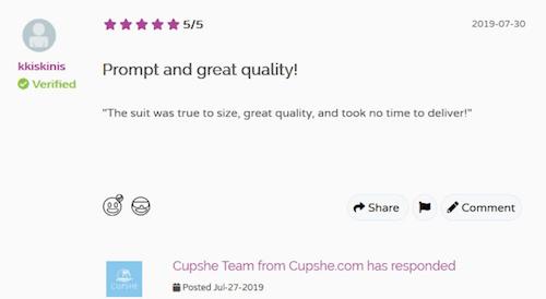cupshe.com customer reviews