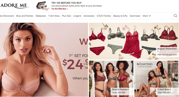 screenshot of adore me lingerie website