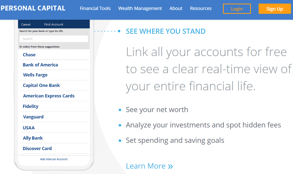 Personal Capital Mobile App and Website