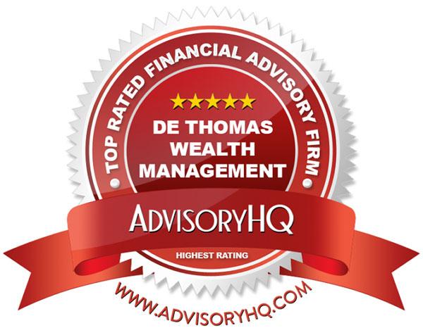 Red Award Emblem for De Thomas Wealth Management Firm
