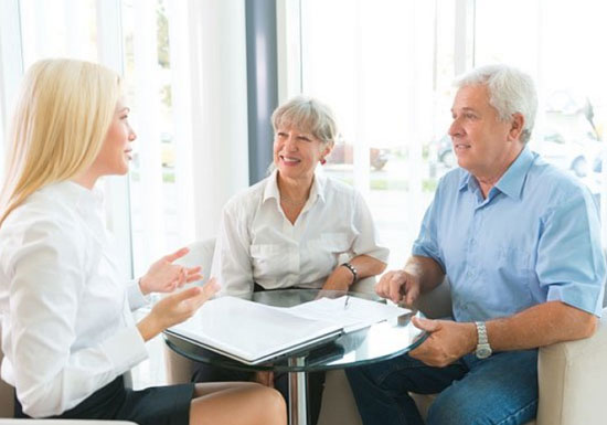 Discussion between two women and one man for maryland financial advisor
